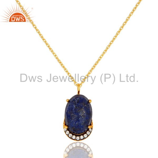 18K Yellow Gold Plated Sterling Silver Lapis Lazuli And CZ Pendant With Chain