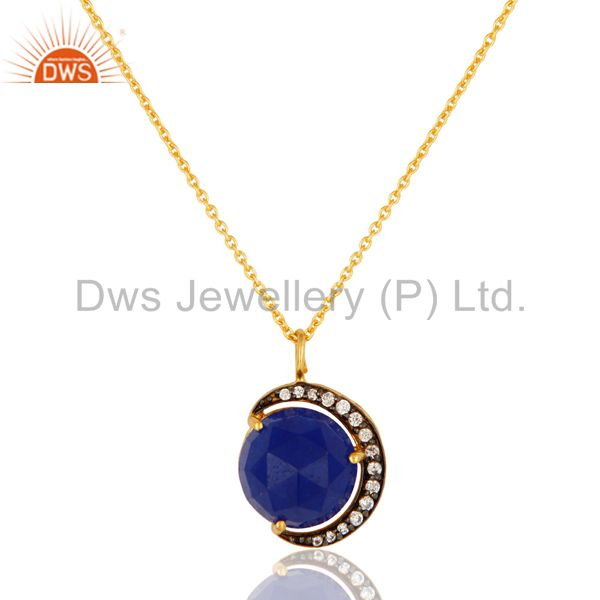 18K Gold On Sterling Silver Blue Aventurine And CZ Half Moon Pendant With Chain