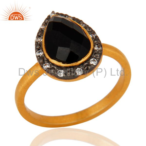 925 Sterling Silver Black Onyx Gemstone 22K Gold Plated Ring With Zircon