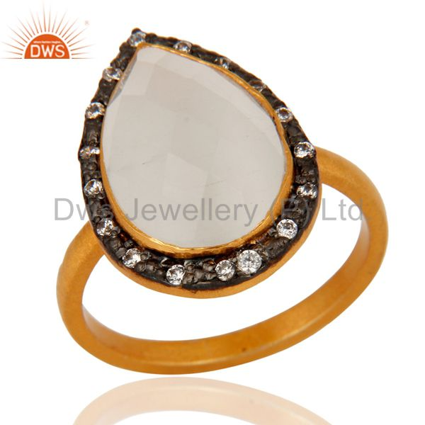 Natural White Moonstone Sterling Silver Gold Plated Gemstone Ring With CZ