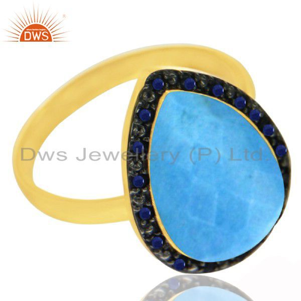 New Indian Handmade Genuine Sapphire Gemstone Turquoise 925 Sterling Silver Ring