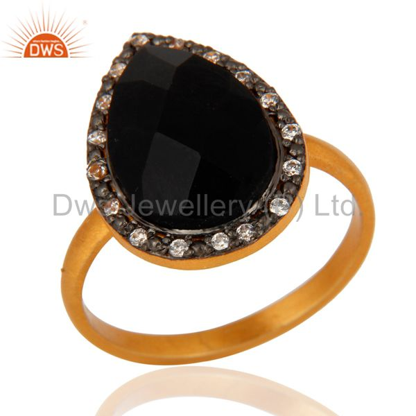 Black Onyx Gemstone Ring Made In 18k Yellow Gold Over Sterling Silver Jewelry