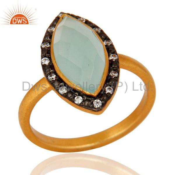 925 Sterling Silver Handmade Gold Plated Aqua Glass Gemstone Ring With CZ