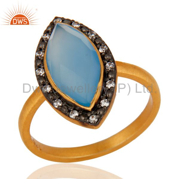 Designer Gold Plated Sterling Silver Blue Chalcedony Gemstone Ring With cz