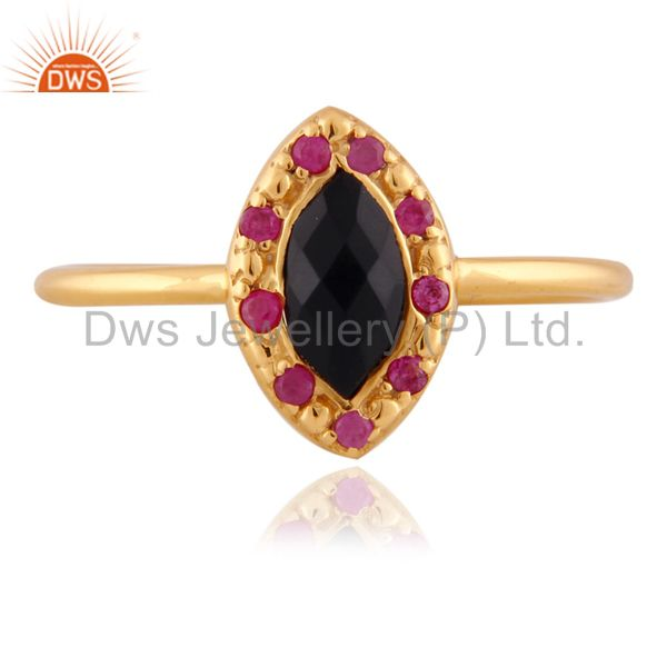 18k Gold Plated Black Onyx Gemstone 925 Sterling SIlver Ruby Stackable Ring