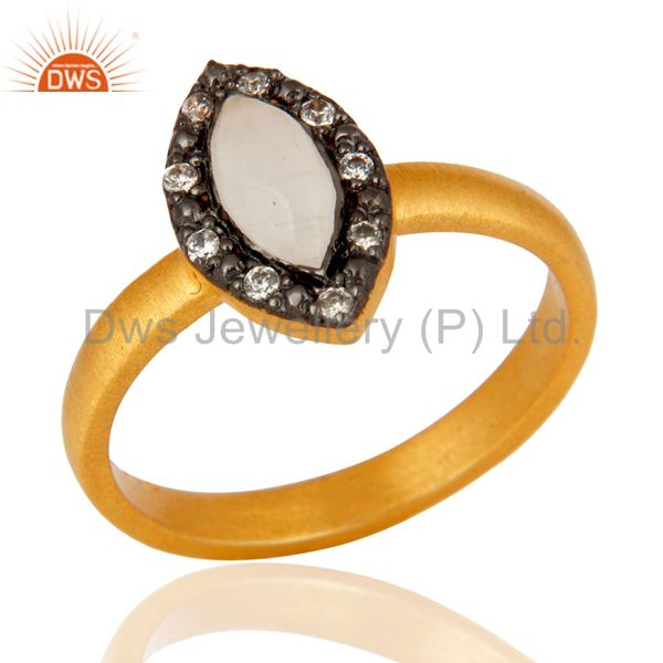 High Quality Solid Sterling Silver White Moonstone Ring With 22K Gold Plated