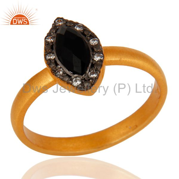 925 Sterling Silver Black Onyx & Cz Gemstone Handmade Designer Ring Gold Plated