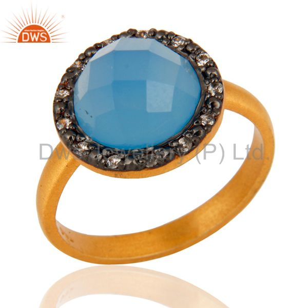 22K Gold Plated 925 Sterling Silver Blue Aqua Chalcedony Gemstone Ring With CZ