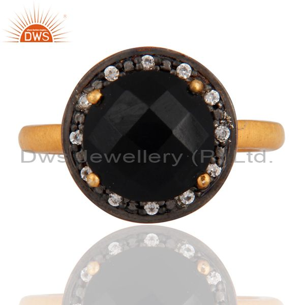 18K Gold Plated Sterling Silver Prong Set Black Onyx Ring With CZ