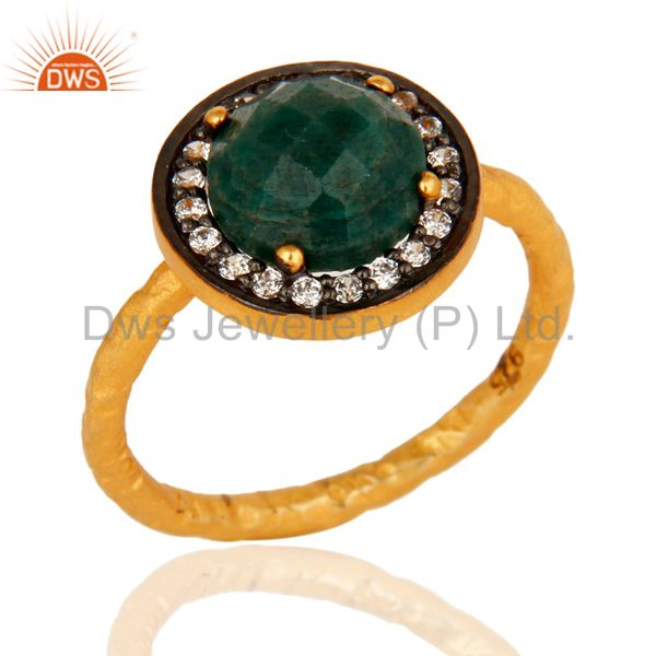 Natural Emerald Hammered Sterling Silver Stacking Ring - Gold Plated