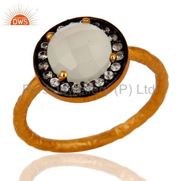 Chalcedony Gemstone Stacking Ring With CZ In Sterling Silver With Gold Plated