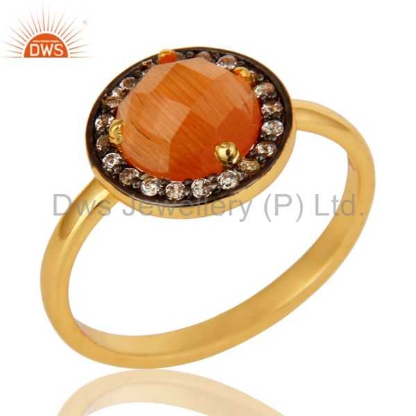 Moon Stone Peach designer Ring