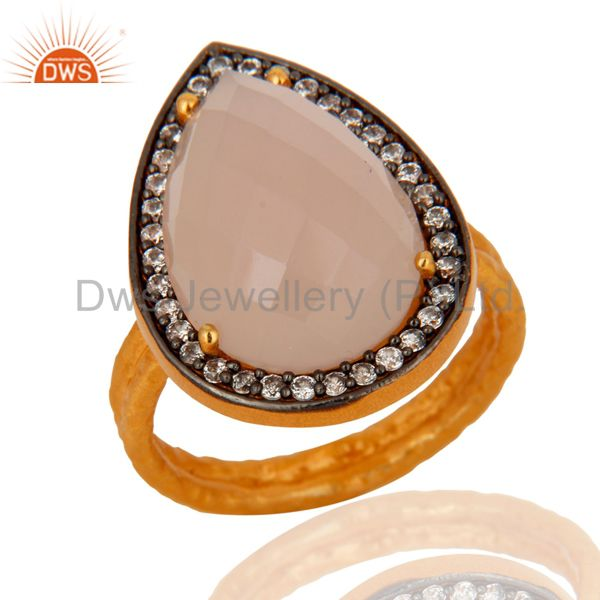 Handmade 925 Sterling Silver Genuine Rose Chalcedony Gold Plated Ring With CZ