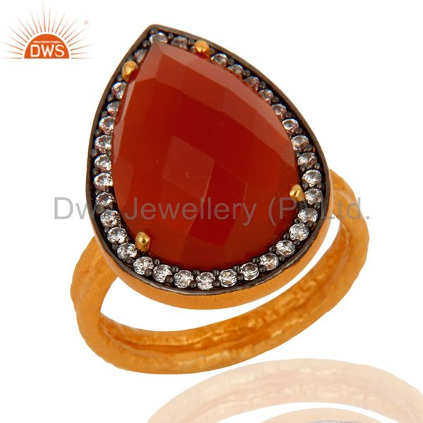 Handmade Genuine Red Onyx Gemstone Gold Plated 925 Sterling Silver Ring With CZ