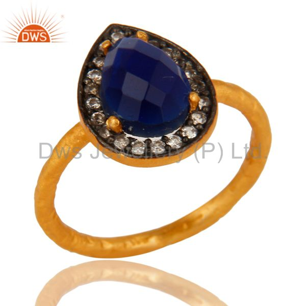 18K Yellow Gold Plated Sterling Silver Blue Corundum And CZ Hammered Band Ring