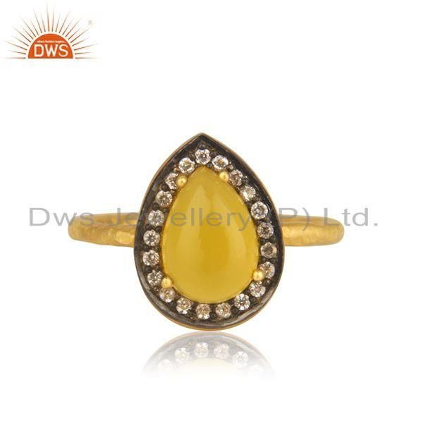 Yellow Chalcedony Gemstone 925 Silver Gold Plated Ring Manufacturer India