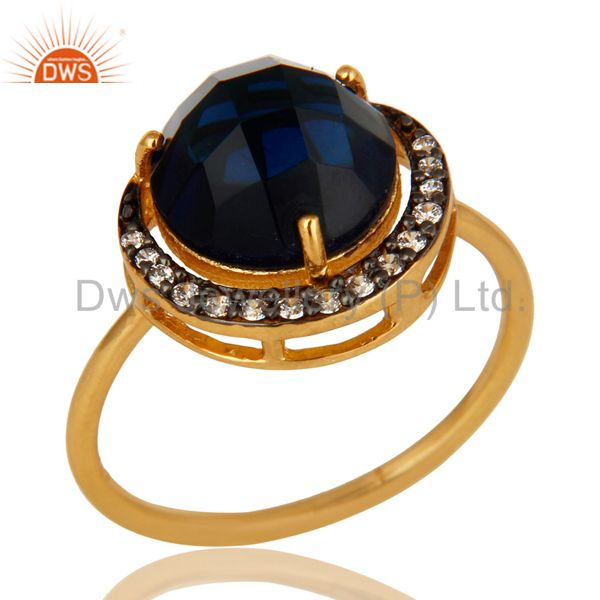 18K Yellow Gold Plated Sterling Silver Blue Corundum And CZ Stacking Ring