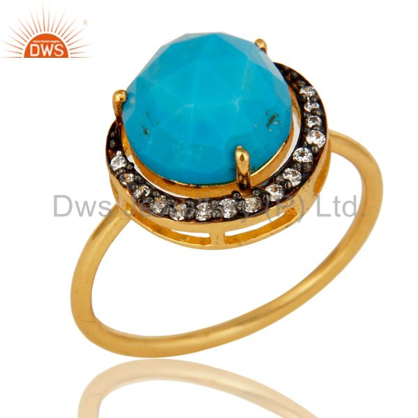 14K Yellow Gold Plated Sterling Silver CZ And Turquoise Designer Stacking Ring