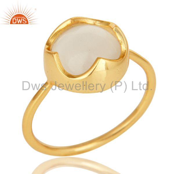14K Yellow Gold Plated Sterling Silver White Moonstone Designer Stackable Ring