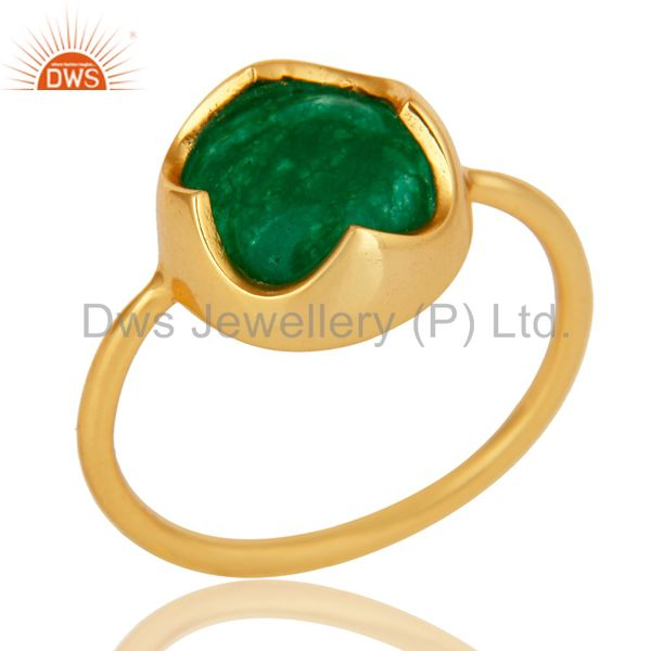 Green Aventurine Gemstone Sterling Silver Stackable Ring With Yellow Gold Plated