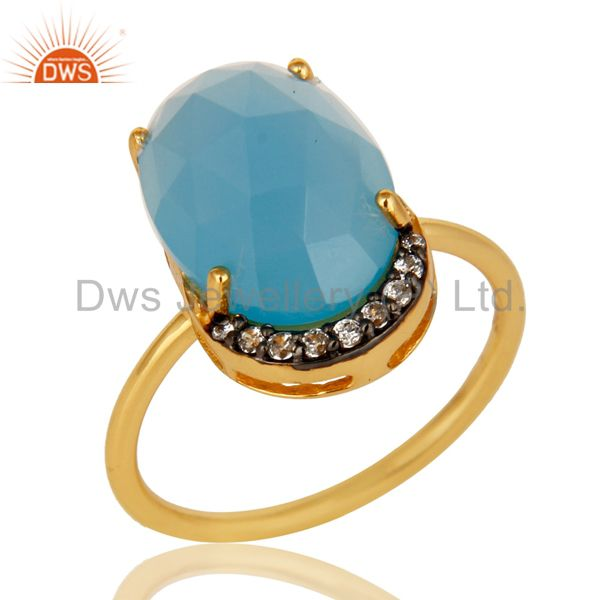 18K Gold Plated Sterling Silver Dyed Blue Chalcedony Prong Set Stacking Ring