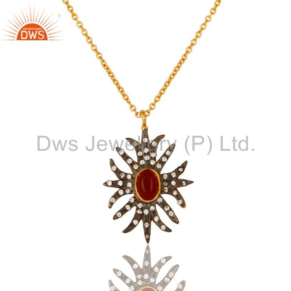 """18K Yellow Gold Plated CZ And Red Onyx Gemstone Pendant With 16"""" In Chain"""