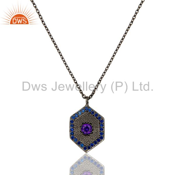 Fashion Look Design Brass Chain Pendant with Oxidized & Zircon Blue Sapphire