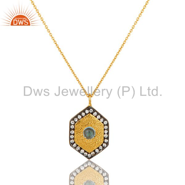 14K Yellow Gold Plated Sterling Silver Blue Topaz And CZ Pendant With Chain