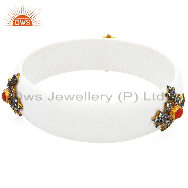 Oxidized Sterling Silver Red Coral And Cubic Zirconia Bakelite Bangle Bracelet