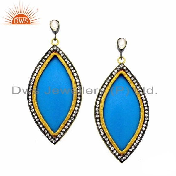 22K Yellow Gold Plated Brass Blue Bakelite And Cubic Zirconia Dangle Earrings