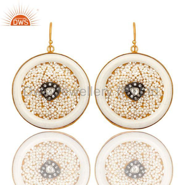22K Gold Plated Sterling Silver Bakelite And Pearl Circle Dangle Earrings