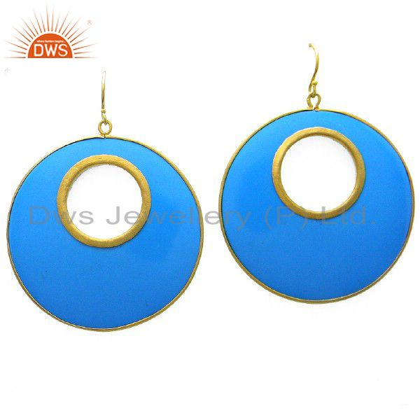 18K Yellow Gold Plated Sterling Silver Blue Bakelite Circle Earrings