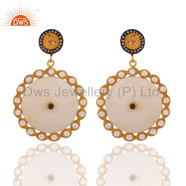 White Bakelite 24k Yellow Gold Plated White Cubic Zirconia Lady Fashion Earrings