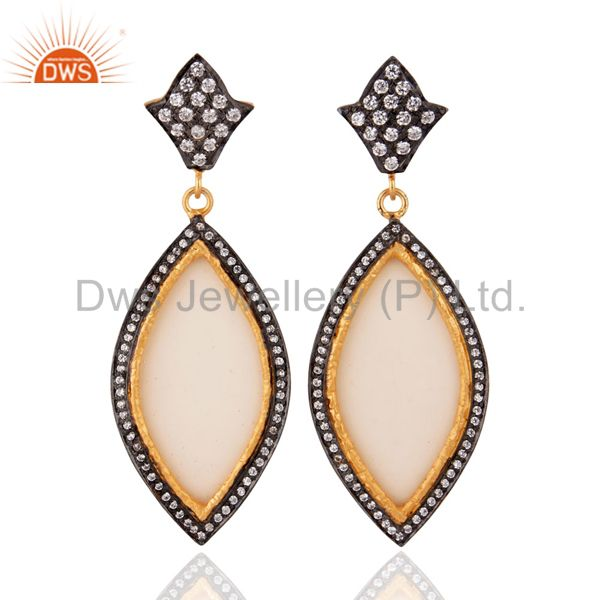 Marquise Shape white Bakelite & cz Vintage Dangle Earrings With Gold Plated