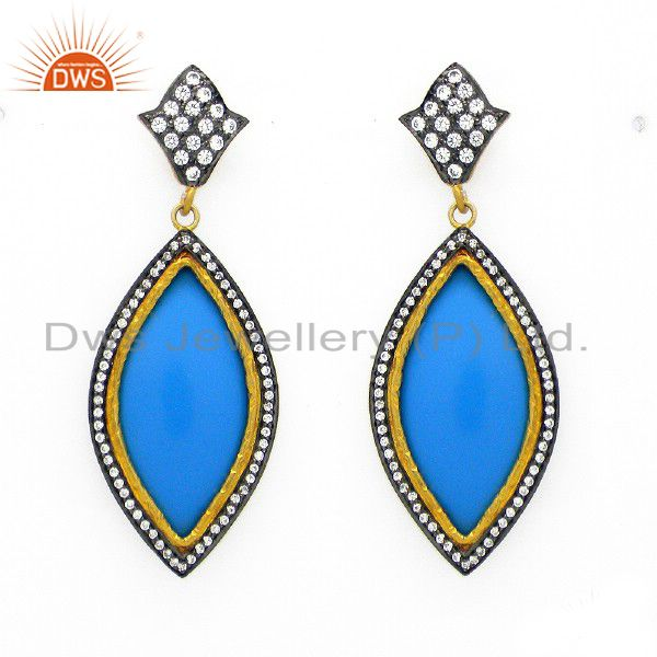 18K Gold Plated Sterling Silver Cubic Zirconia And Blue Bakelite Earrings