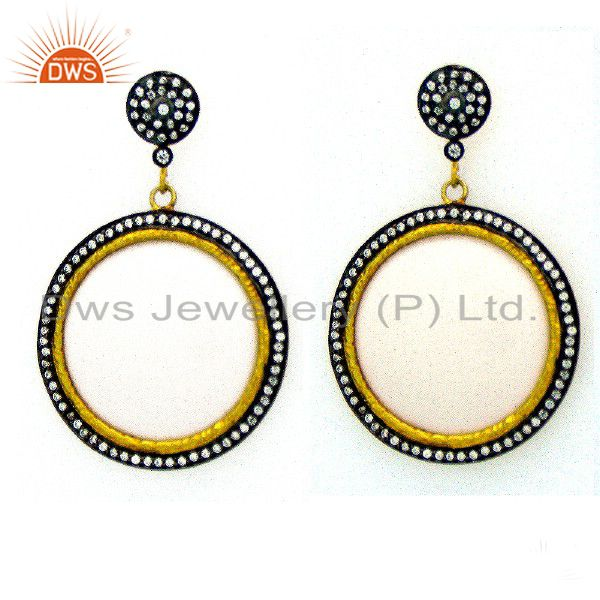 18K Gold Plated Sterling Silver Cubic Zirconia And Bakelite Disc Dangle Earrings