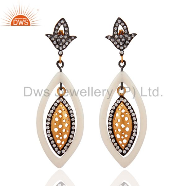 Antique style 18K Gold Plated Pave White Cubic Zirconia Handmade Dangle Earring