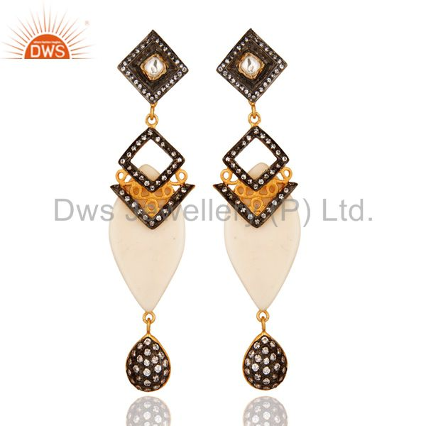 Gold Plated Crystal Cubic Zirconia Polki Victorian Estate Style Dangle Earrings