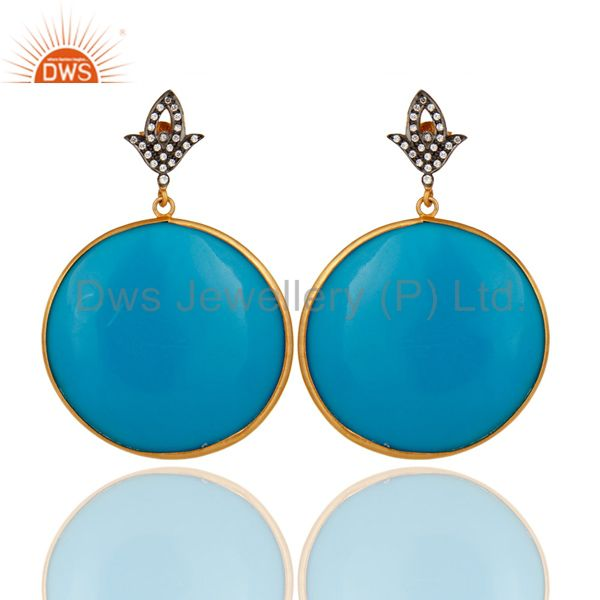 22k Gold Plated Sterling Silver White Zircon & Blue Bakelite Circle Earring