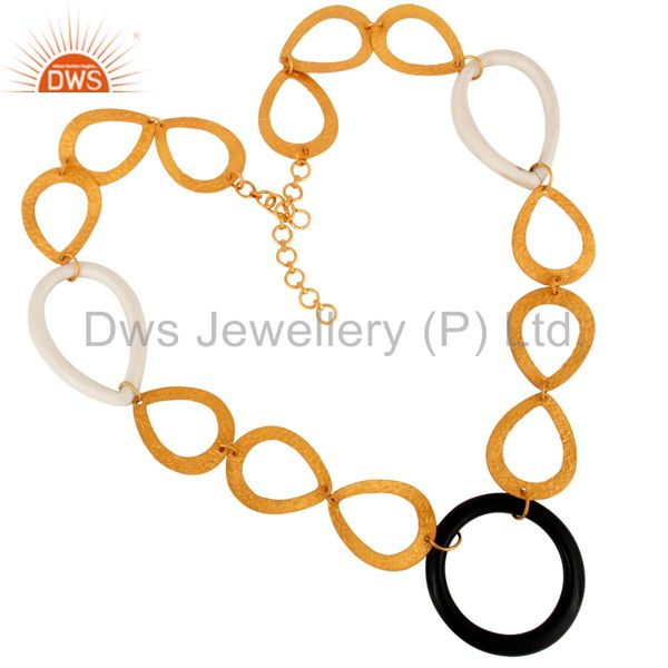 Handmade Solid Sterling Silver Link Chain Designer Necklace With Gold Plated