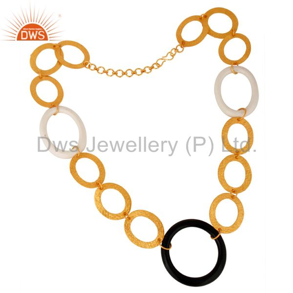 Handmade 14K Yellow Gold Plated Over Sterling Silver Link Necklace