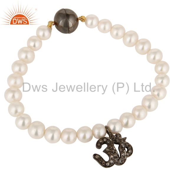 14K Solid Yellow Gold Natural Pearl Bracelet With Pave Diamond Om Charm