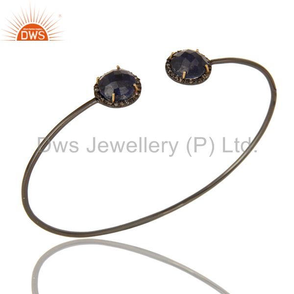 Pave Set Diamond Natural Blue Sapphire Adjustable Bangle In 14K Gold And Silver