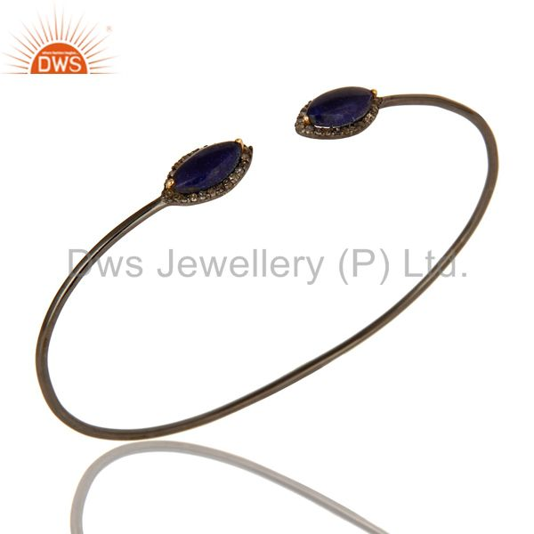 14K Yellow Gold And Sterling Silver Blue Sapphire Pave Diamond Openable Bangle