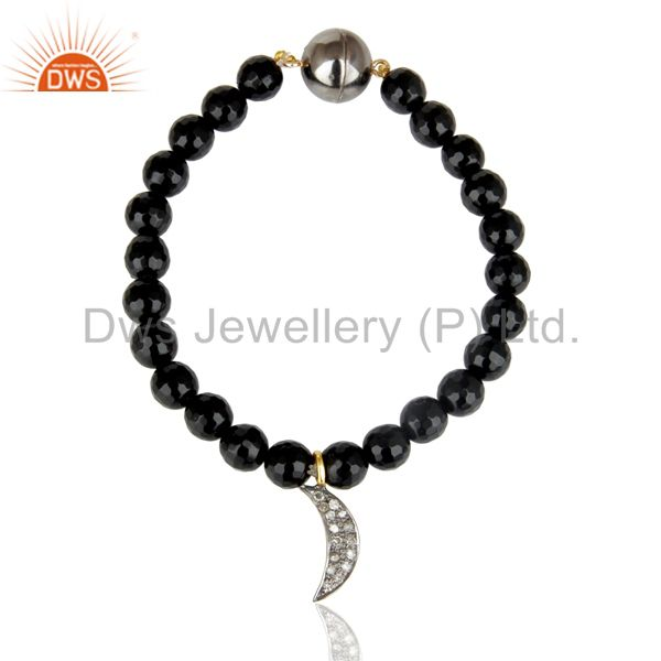 Gorgeous Solid Gold Handmade Pave Diamond Round Cut Black Onyx Bracelet Jewelry