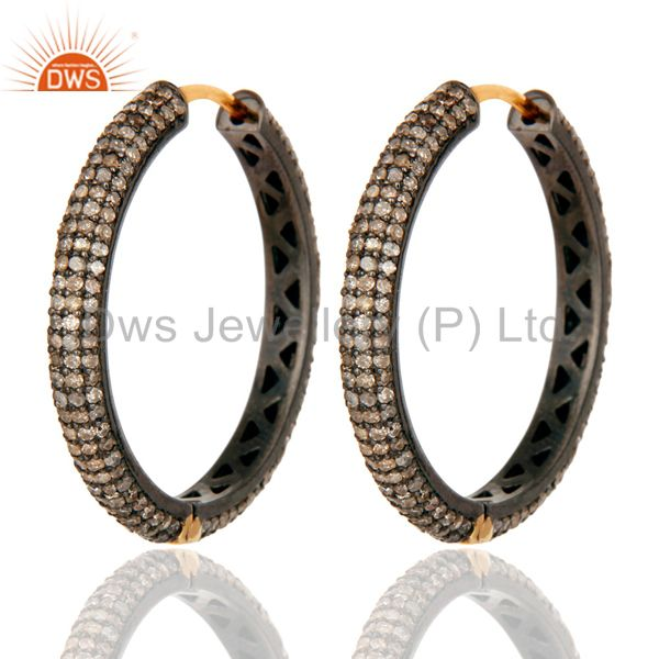 Pave Diamond 14k Yellow Gold Hoop Earrings 925 Sterling Silver Fashion Jewelry