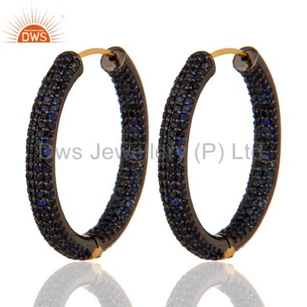 14K Solid Yellow Gold Natural Blue Sapphire Gemstone Designer Hoop Earrings