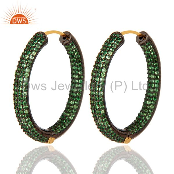 Genuine 14K Yellow Gold Tsavorite Green Garnet Pave Gemstone Hoop Earring
