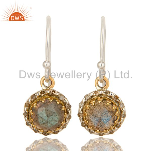 18K Gold And Sterling Silver Pave Diamond Labradorite Gemstone Dangle Earrings