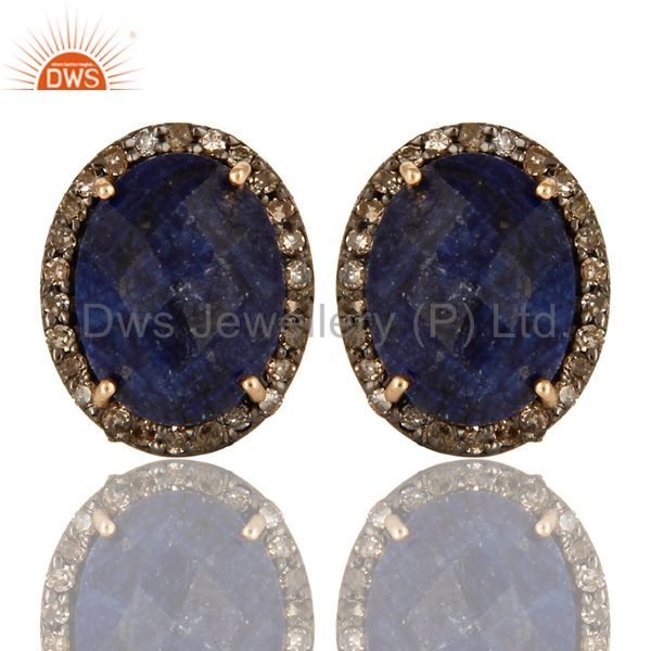 14K Solid Yellow Gold Sterling Silver Pave Diamond Blue Sapphire Stud Earrings